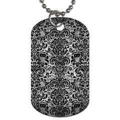 Damask2 Black Marble & Gray Metal 2 (r) Dog Tag (two Sides)