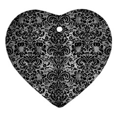 Damask2 Black Marble & Gray Metal 2 (r) Heart Ornament (two Sides)