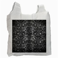 Damask2 Black Marble & Gray Metal 2 (r) Recycle Bag (one Side)