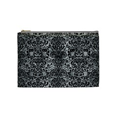 Damask2 Black Marble & Gray Metal 2 (r) Cosmetic Bag (medium)