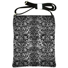 Damask2 Black Marble & Gray Metal 2 (r) Shoulder Sling Bags