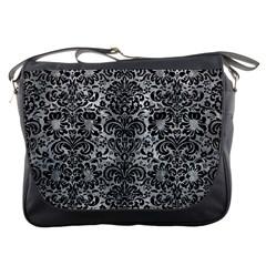 Damask2 Black Marble & Gray Metal 2 (r) Messenger Bags