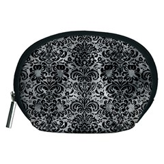 Damask2 Black Marble & Gray Metal 2 (r) Accessory Pouches (medium)
