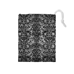 Damask2 Black Marble & Gray Metal 2 (r) Drawstring Pouches (medium)