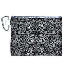 Damask2 Black Marble & Gray Metal 2 (r) Canvas Cosmetic Bag (xl)