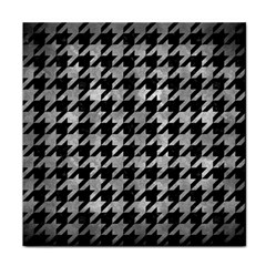Houndstooth1 Black Marble & Gray Metal 2 Tile Coasters