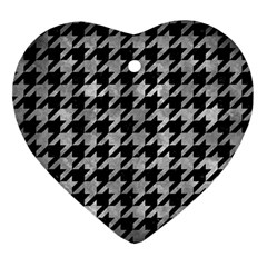 Houndstooth1 Black Marble & Gray Metal 2 Ornament (heart)