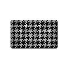 Houndstooth1 Black Marble & Gray Metal 2 Magnet (name Card)