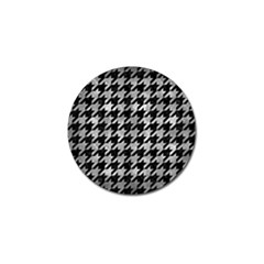 Houndstooth1 Black Marble & Gray Metal 2 Golf Ball Marker