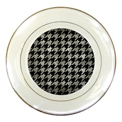 Houndstooth1 Black Marble & Gray Metal 2 Porcelain Plates