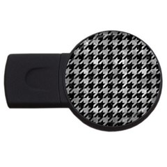 Houndstooth1 Black Marble & Gray Metal 2 Usb Flash Drive Round (4 Gb)