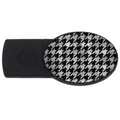 Houndstooth1 Black Marble & Gray Metal 2 Usb Flash Drive Oval (4 Gb)