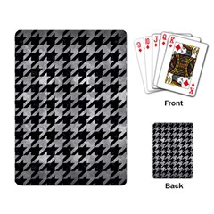 Houndstooth1 Black Marble & Gray Metal 2 Playing Card