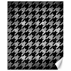 Houndstooth1 Black Marble & Gray Metal 2 Canvas 16  X 20