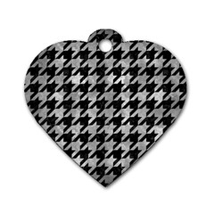 Houndstooth1 Black Marble & Gray Metal 2 Dog Tag Heart (two Sides)