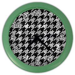 Houndstooth1 Black Marble & Gray Metal 2 Color Wall Clocks