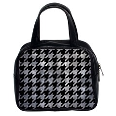 Houndstooth1 Black Marble & Gray Metal 2 Classic Handbags (2 Sides)
