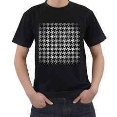 Houndstooth1 Black Marble & Gray Metal 2 Men s T Shirt (black)