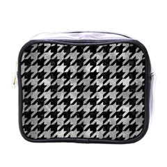 Houndstooth1 Black Marble & Gray Metal 2 Mini Toiletries Bags