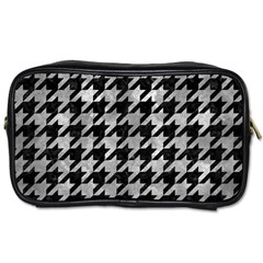 Houndstooth1 Black Marble & Gray Metal 2 Toiletries Bags 2 Side
