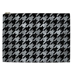 Houndstooth1 Black Marble & Gray Metal 2 Cosmetic Bag (xxl)