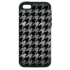 Houndstooth1 Black Marble & Gray Metal 2 Apple Iphone 5 Hardshell Case (pc+silicone)