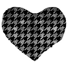 Houndstooth1 Black Marble & Gray Metal 2 Large 19  Premium Heart Shape Cushions