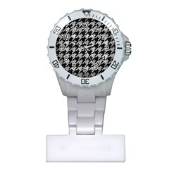Houndstooth1 Black Marble & Gray Metal 2 Plastic Nurses Watch