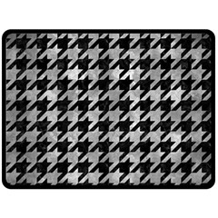 Houndstooth1 Black Marble & Gray Metal 2 Double Sided Fleece Blanket (large)