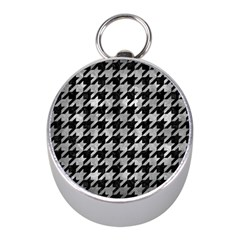 Houndstooth1 Black Marble & Gray Metal 2 Mini Silver Compasses