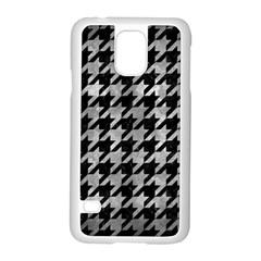 Houndstooth1 Black Marble & Gray Metal 2 Samsung Galaxy S5 Case (white)