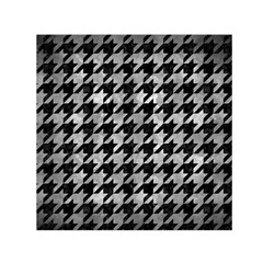 Houndstooth1 Black Marble & Gray Metal 2 Small Satin Scarf (square)