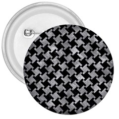 Houndstooth2 Black Marble & Gray Metal 2 3  Buttons
