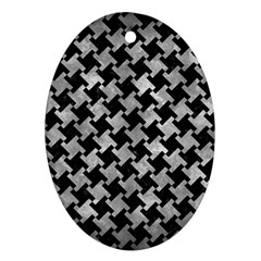 Houndstooth2 Black Marble & Gray Metal 2 Ornament (oval)