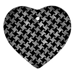 Houndstooth2 Black Marble & Gray Metal 2 Ornament (heart)