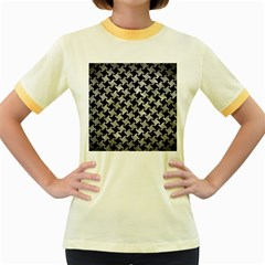 Houndstooth2 Black Marble & Gray Metal 2 Women s Fitted Ringer T Shirts