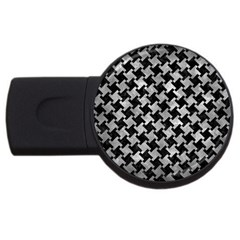 Houndstooth2 Black Marble & Gray Metal 2 Usb Flash Drive Round (2 Gb)