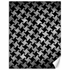 Houndstooth2 Black Marble & Gray Metal 2 Canvas 12  X 16