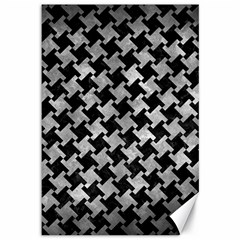 Houndstooth2 Black Marble & Gray Metal 2 Canvas 12  X 18