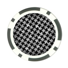 Houndstooth2 Black Marble & Gray Metal 2 Poker Chip Card Guard