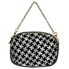 Houndstooth2 Black Marble & Gray Metal 2 Chain Purses (two Sides)