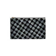 Houndstooth2 Black Marble & Gray Metal 2 Cosmetic Bag (small)