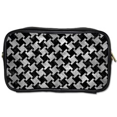 Houndstooth2 Black Marble & Gray Metal 2 Toiletries Bags