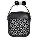 HOUNDSTOOTH2 BLACK MARBLE & GRAY METAL 2 Girls Sling Bags Front