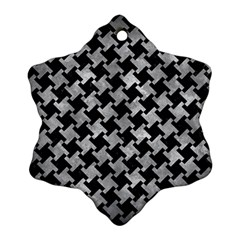 Houndstooth2 Black Marble & Gray Metal 2 Ornament (snowflake)