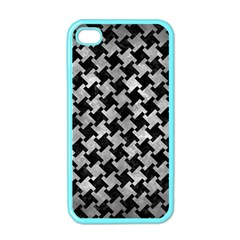 Houndstooth2 Black Marble & Gray Metal 2 Apple Iphone 4 Case (color)