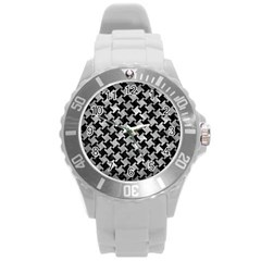 Houndstooth2 Black Marble & Gray Metal 2 Round Plastic Sport Watch (l)