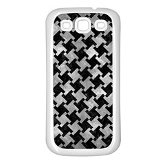 Houndstooth2 Black Marble & Gray Metal 2 Samsung Galaxy S3 Back Case (white)