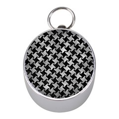 Houndstooth2 Black Marble & Gray Metal 2 Mini Silver Compasses