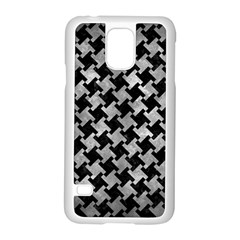Houndstooth2 Black Marble & Gray Metal 2 Samsung Galaxy S5 Case (white)
